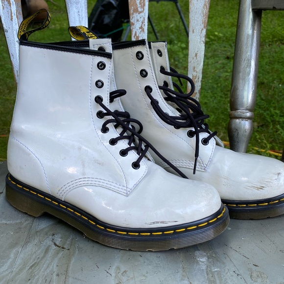 White Patent Leather Dr Marten Boots